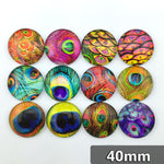 40mm Eyes Round Glass Cabochon Mixed Pattern Fit Cameo Base Setting