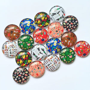 10mm 12mm Mixed Flower Round Glass Cabochon Cameo Cabochon Setting Supplies