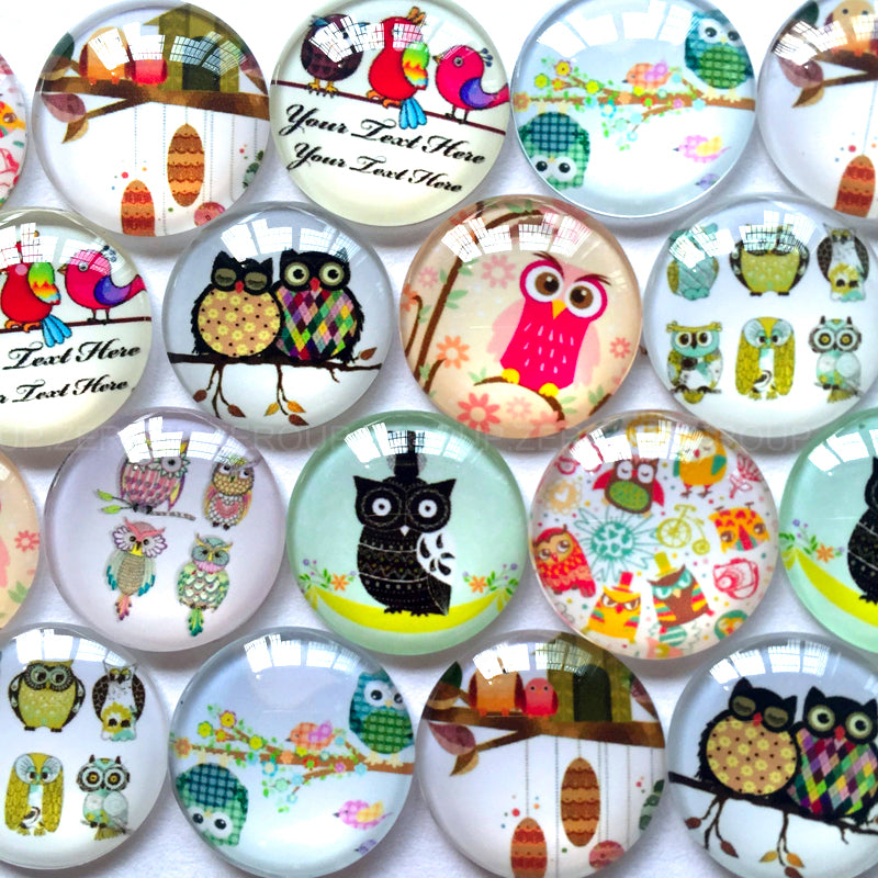 10mm 12mm 14mm 16mm 18mm 20mm 25mm 30mm 35mm 40mm Mixed Round Owl Glass Cabochon Cameo Cabochon Setting Supplies for Jewelry Accessories
