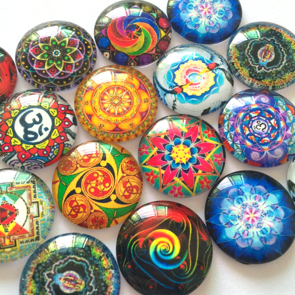12mm 20mm 25mm Colorful Art Glass Cabochon Mixed Patterns Round Photo Fit Cameo Base Setting Supplies