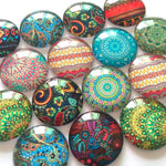 12mm 20mm 25mm Round Glass Cabochon Mixed Zentangle Patterns Fit Cameo Base Setting Supplies
