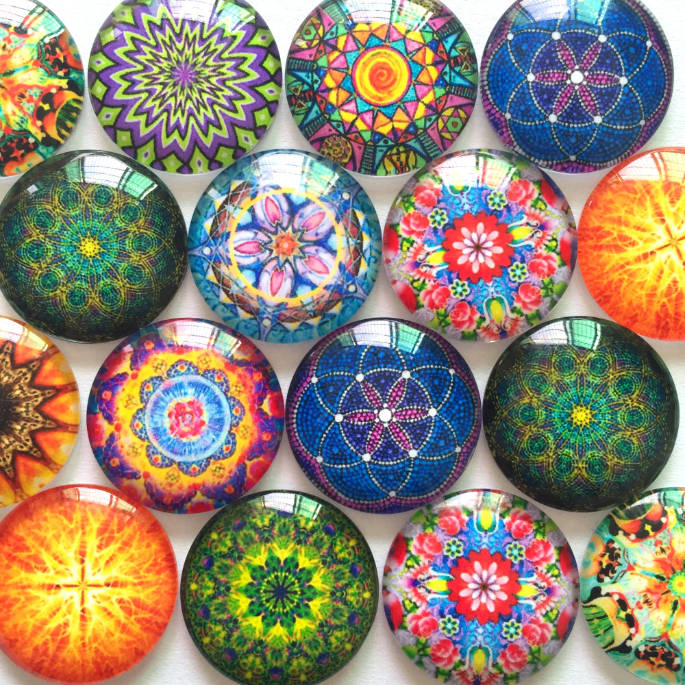 12mm 20mm 25mm Round Glass Cabochon Symmetrical Patterns Mixed Designs Photo Fit Cameo Base Setting Supplies