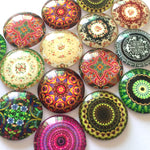 12mm 20mm 25mm Glass Cabochon Mixed Patterns Round Fit Cameo Base Setting Supplies