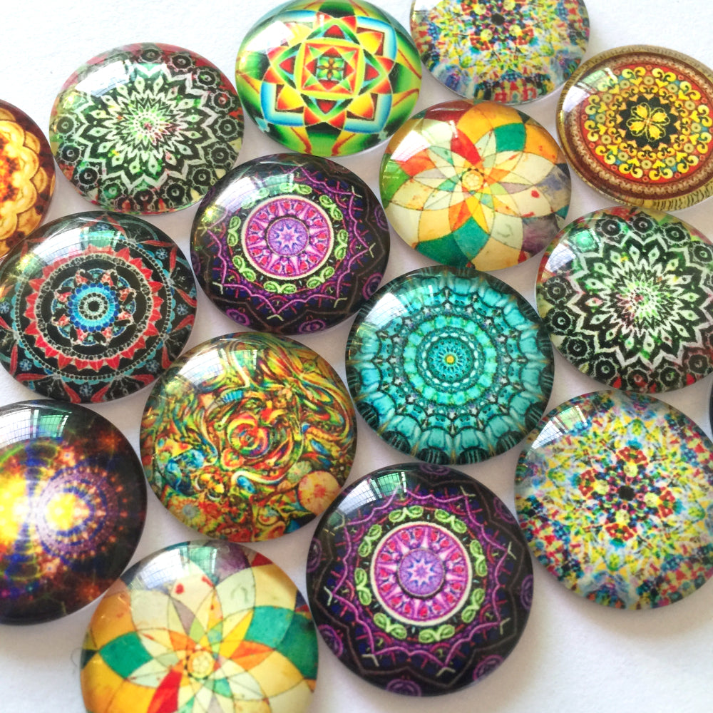 12mm 20mm 25mm Round Glass Cabochon Mixed Kaleidoscope Patterns Photo Fit Cameo Base Setting Supplies