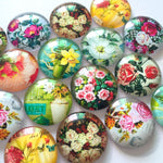 12mm 20mm 25mm Round Glass Cabochon Mixed Vased Flower Patterns Fit Cameo Base Setting Supplies
