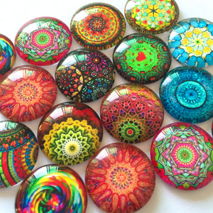 12mm 20mm 25mm Mixed Colorful Patterns Glass Cabochon Round Fit Cameo Base Setting Supplies