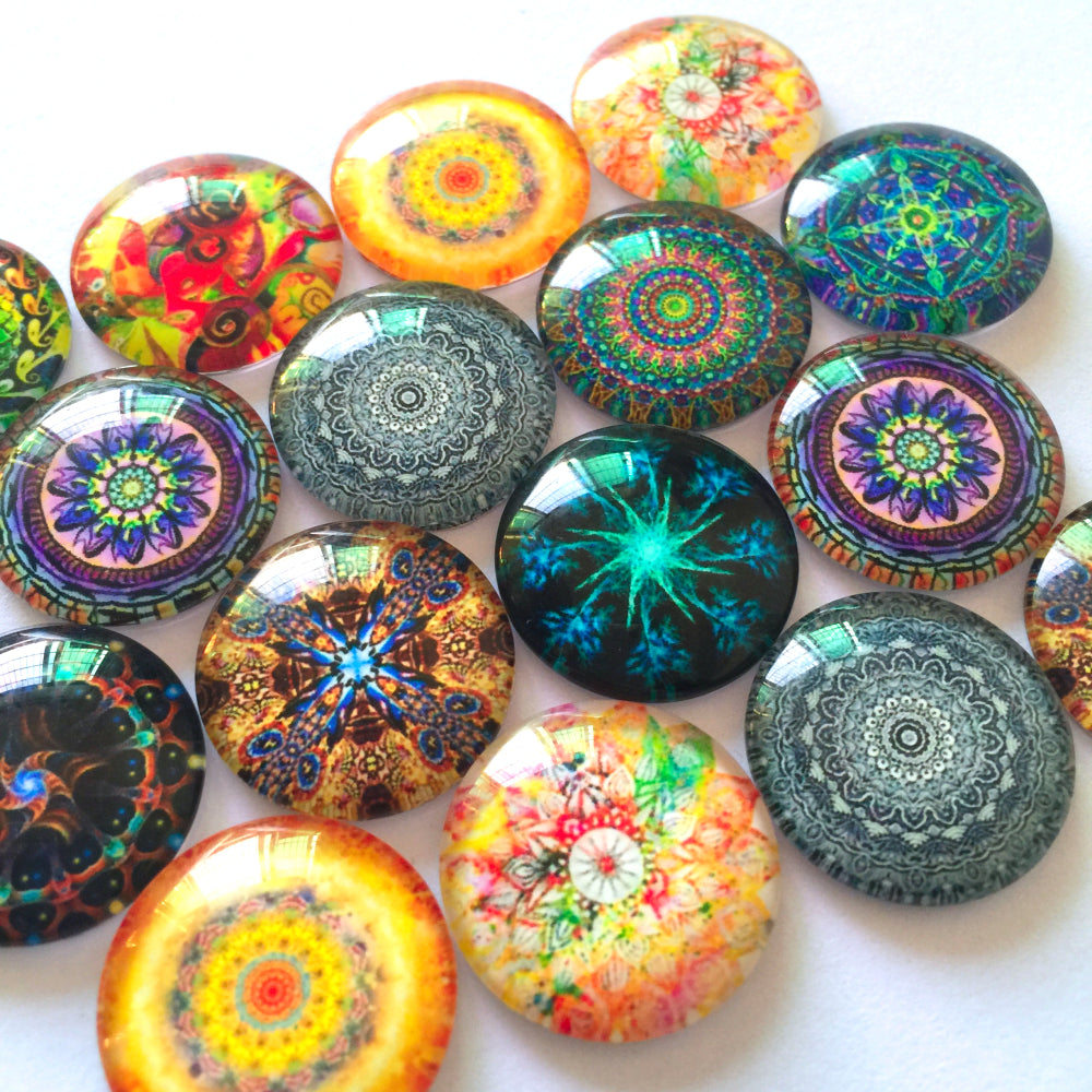 12mm 20mm 25mm Glass Cabochon Mixed Patterns Round Photo Fit Cameo Base Setting Supplies