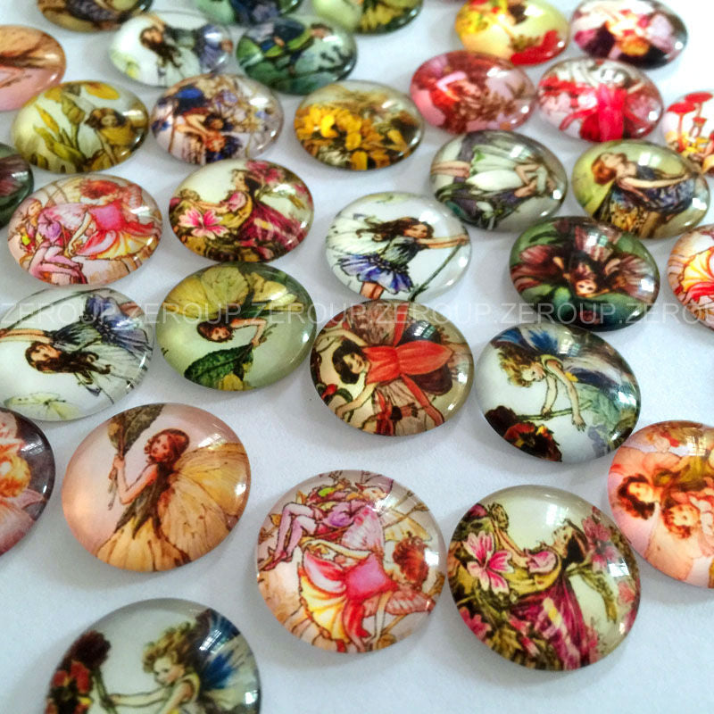 18mm 20mm 25mm Round Glass Dome Seals A Girl With Wings Pattern Cabochons Embellishments Findings