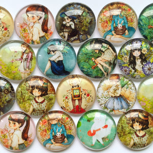 18mm 20mm 25mm Round Photo Glass Cabochons Mixed Pattern Domed Round Jewelry Accessories Supplies