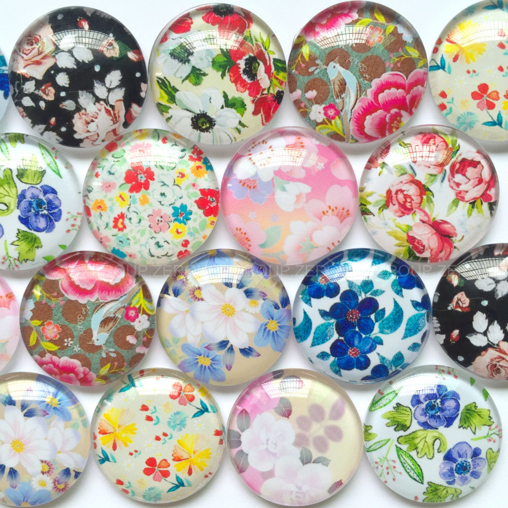 18mm 20mm 25mm Round Photo Glass Cabochons Mixed Floral Pattern Domed Round Jewelry Accessories Supplies