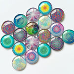 18mm 20mm 25mm Art Handmade Photo Glass Cabochons Mixed Pattern Domed Round Jewelry Accessories Supplies
