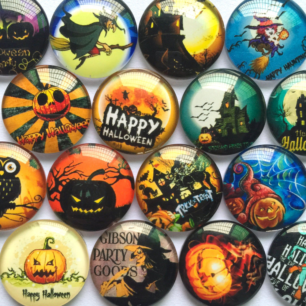 10mm 12mm 18mm 20mm 25mm 30mm 35mm 40mm Happy Halloween Round Shape Glass Dome Cabochon Flat Back Fit Cameo Settings Jewelry Embellishment