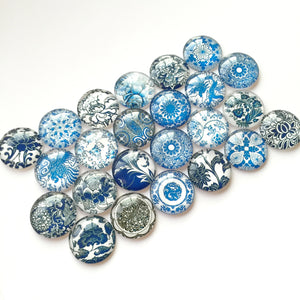 10mm 12mm 14mm 16mm 18mm 20mm 25mm 30mm 35mm 40mm Blue and White Porcelain Round Glass Cabochon Dome Embellishment Base Supplies for Jewelry Finding