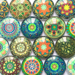 10mm 12mm 18mm 20mm 25mm 30mm 35mm 40mm Round Glass Cabochon Mixed Kaleidoscope Pattern DIY Embellishments Supplies