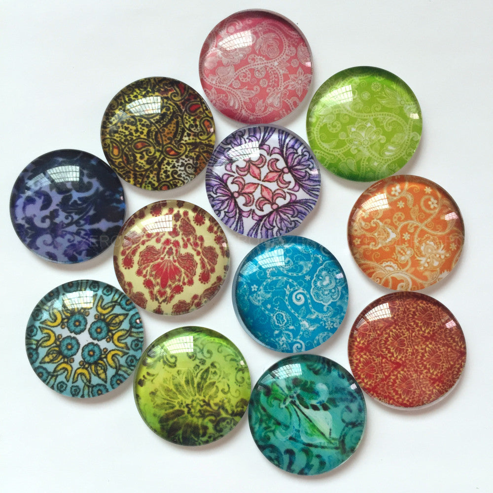10mm 12mm 18mm 20mm 25mm 30mm 35mm 40mm Mixed Pattern Handmade DIY Round Glass Cabochon Embellishments Supplies for Jewelry Clasps Craft