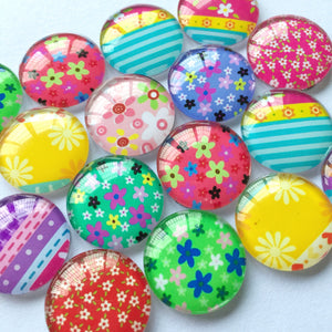 10mm 12mm 18mm 20mm 25mm 30mm 40mm Handmade DIY Embellishments Round Glass Cabochon Mixed Pattern Supplies for Jewelry