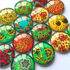 10mm 12mm 18mm 20mm 25mm 30mm 35mm 40mm Colorful Flowers Round Glass Cabochon Mixed Pattern Handmade DIY Embellishments Supplies
