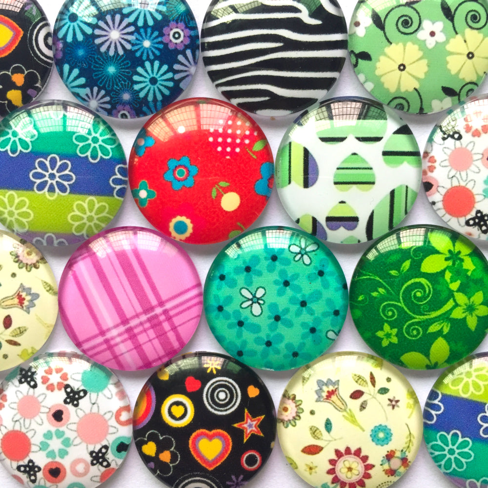 10mm 12mm 18mm 20mm 25mm 30mm 40mm Mixed Shapes Pattern Handmade DIY Round Glass Cabochon Embellishments Supplies for Jewelry