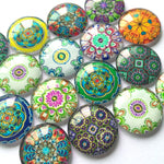10mm 12mm 18mm 20mm 25mm 30mm 35mm 40mm Colorful Floral Round Glass Cabochon Mixed Pattern Handmade DIY Embellishments Supplies