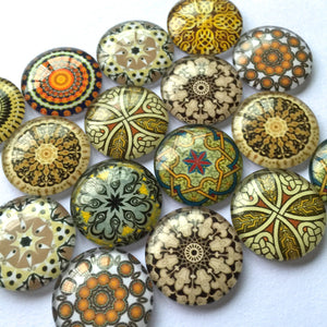 10mm 12mm 16mm 18mm 20mm 25mm 35mm 40mm Round Glass Cabochon Mixed Pattern Handmade DIY Embellishments Supplies