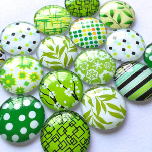 10mm 12mm 18mm 20mm 25mm 30mm 35mm 40mm Round Glass Green Leaves Cabochon Mixed Pattern Handmade DIY Embellishments Supplies