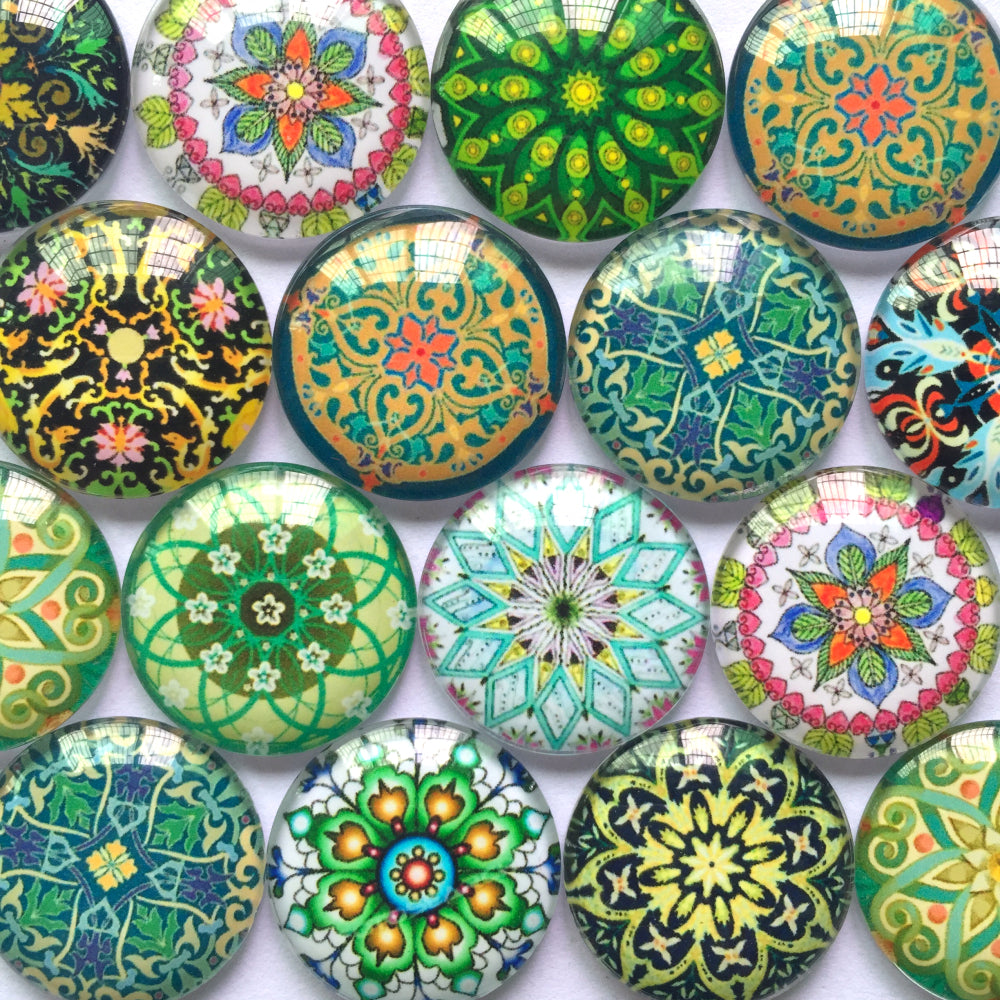 Round Glass Cabochon 12mm 20mm Mixed Pattern Handmade Diy Embellishments Supplies