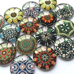 10mm 12mm 18mm 20mm 25mm 30mm 35mm 40mm Abstract Round Glass Cabochon Mixed Pattern Handmade DIY Embellishments Supplies