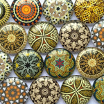 10mm 12mm 16mm 18mm 20mm 25mm 30mm 35mm 40mm Vintage Pattern Round Glass Cabochon Mixed Pattern Handmade DIY Embellishments Supplies for Jewelry