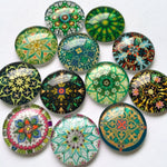 30mm 35mm DIY Floral Round Glass Cabochon Mixed Pattern Handmade Embellishments Supplies