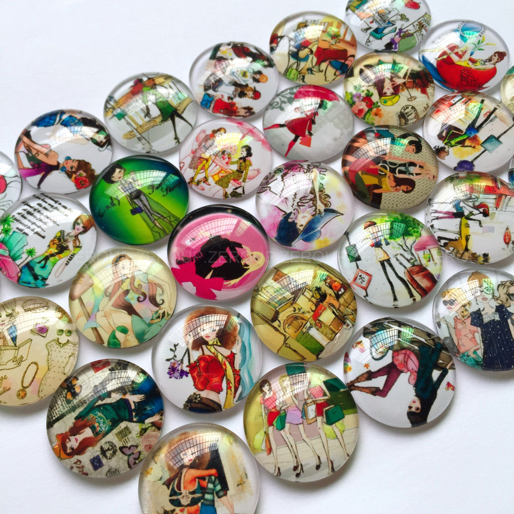 18mm 20mm 25mm Fashion Girl Round Glass Cabochon Mixed Pattern Handmade DIY Embellishments Supplies