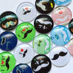 10mm 12mm 18mm 20mm 25mm 30mm 35mm 40mm Mr Beard Round Glass Cabohcon Dome Cabochons Embellishment Base Supplies