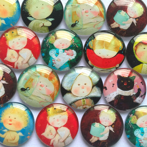 10mm 12mm 18mm 20mm 25mm 30mm 35mm 40mm Baby Angel Round Glass Cabohcon Dome Cabochons Embellishment Base Supplies