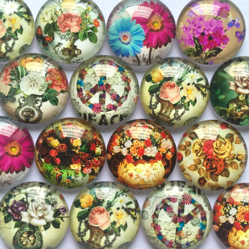 10mm 12mm 18mm 20mm 25mm 30mm 35mm 40mm Round Glass Cabochon Mix Floral Pattern Dome Cabochons Embellishment Base Supplies