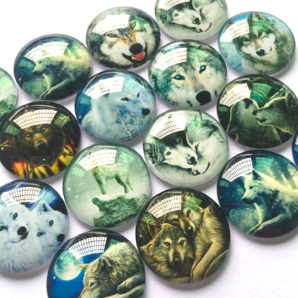 10mm 12mm 18mm 20mm 25mm 30mm 35mm 40mm Round Glass Wolf Design Cabochons Embellishment Base Supplies