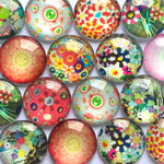 10mm 12mm 18mm 20mm Floral Flower Round Glass Cabohcon Dome Cabochons Embellishment Base Supplies
