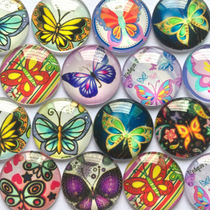 10mm 12mm 18mm 20mm 25mm Colorful Butterfly Dome Round Glass Cabohcon Embellishment Base Supplies