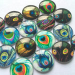 10mm 12mm 18mm 20mm 25mm 30mm 35mm 40mm Round Glass Cabochon Peacock Design Mixed Style Embellishment Base Supplies