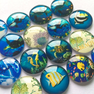 10mm 12mm 18mm 20mm 25mm 30mm 35mm 40mm Blue Sea Creator Round Glass Cabohcon Dome Cabochons Embellishment Base Supplies