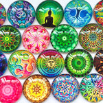 10mm 12mm 14mm 16mm 18mm 20mm 25mm 30mm 35mm 40mm Round Glass Dome Cabochon Mixed Pattern Pendant Accessories for DIY Flat Back Jewelry