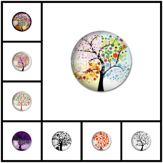 10mm 12mm 14mm 16mm 18mm 20mm 25mm 30mm Colorful Trees Round Glass Cabochon Jewelry Finding Fit Cameo Blank Settings