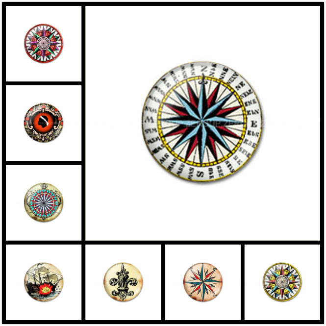 10mm 12mm 14mm 16mm 18mm 20mm 25mm 30mm Compass Round Photos Glass Cabochon Jewelry Finding Fit Cameo Blank Settings