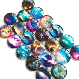 10mm 12mm 14mm 16mm 18mm 20mm 25mm 30mm 35mm 40mm Starry Sky Printed Glass Half Round/Dome Cabochons Mixed Color