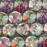 18mm 20mm 25mm Elephant Round Glass Cabochon Mixed Pattern Fit Cameo Base Setting