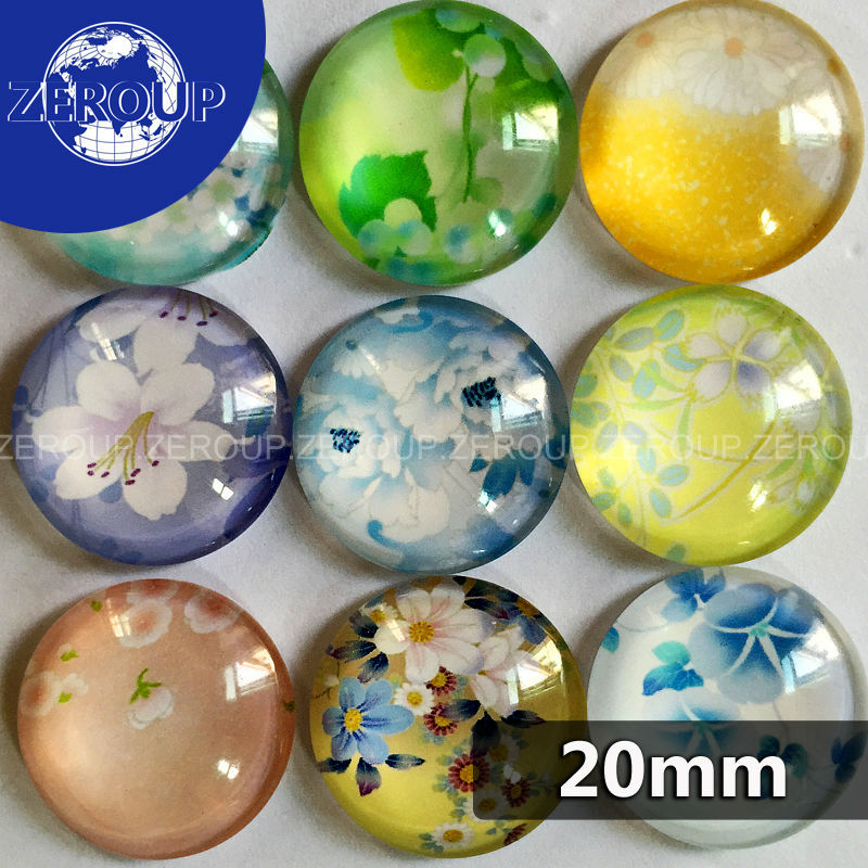 18mm 20mm 25mm Round Glass Cabochon Flower Pictures Mixed Pattern Fit Cameo Base Setting