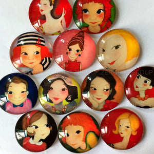18mm 20mm 25mm Round Glass Cabochon Animated Girls Pictures Mixed Style Fit Cameo Base Setting