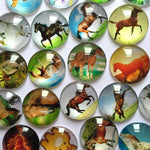 Round Glass Cabochon Horse Mixed Pattern Fit Cameo for Jewelry