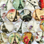 18mm 20mm 25mm Iron Tower  Round Glass Cabochon Mixed Pattern Fit Cameo Base Setting