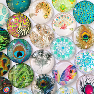 18mm 20mm 25mm Peacock Feathers Round Glass Cabochon Mixed Pattern Fit Cameo Base Earring Setting