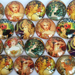 18mm 20mm 25mm Vintage Art Oil Painting Round Glass Cabochon Mixed Pattern Fit Base Setting