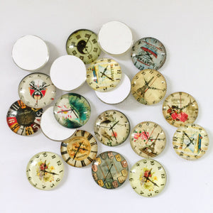 18mm 20mm 25mm Round Glass Cabochon Mixed Clock Design Fit Cameo Base Setting